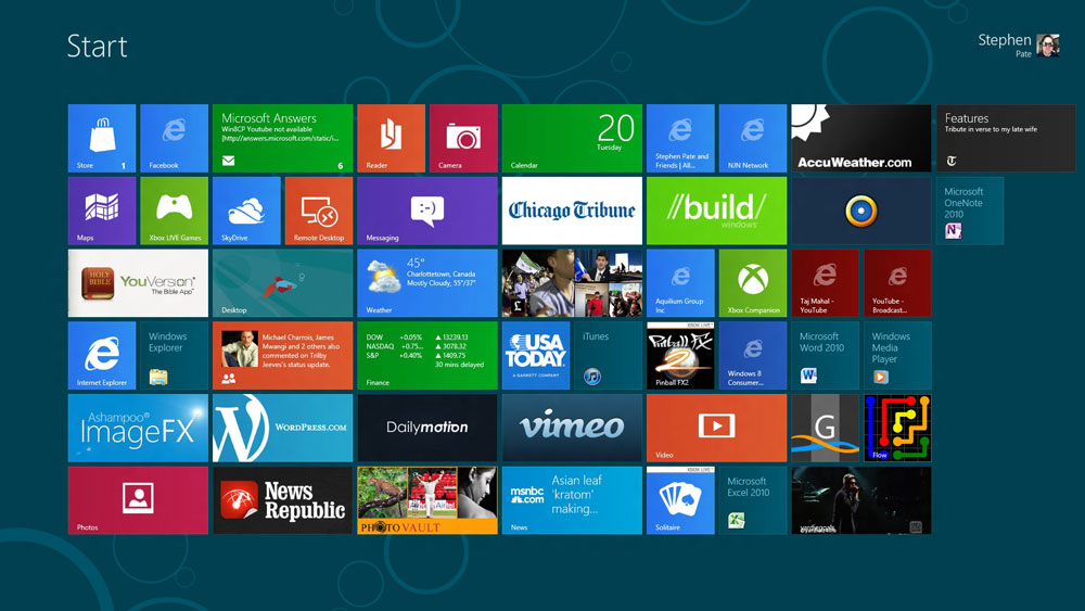 """Acer T231H 23"""" multi-touch monitor with Windows 8 Metro home screen (click for larger image) Photo NJN Network"""